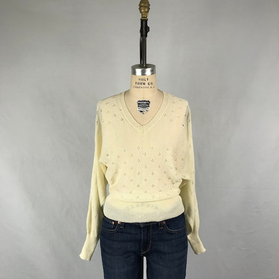 Vintage 1970s V Neck Cream Sweater 70s Organically