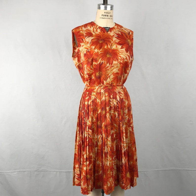 Vintage 1960s Flower Print Dress 60s Orange Sleeveless Pleated Dress