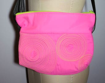 micro bag: pink with lime stitching, washable, lightweight, durable and vegan
