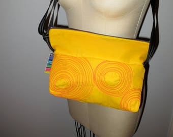 micro bag: yellow with orange, washable, lightweight, durable and vegan