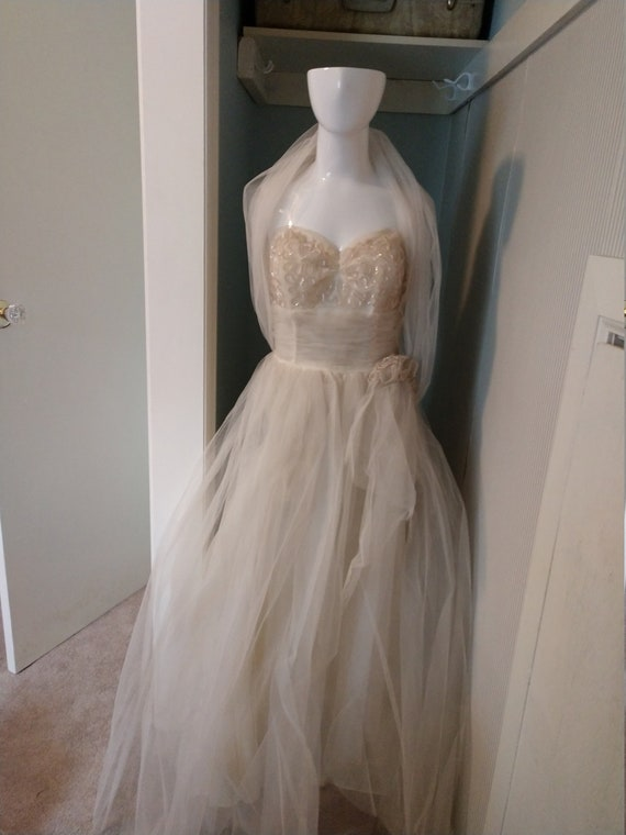 Mint 1950s white tulle prom gown