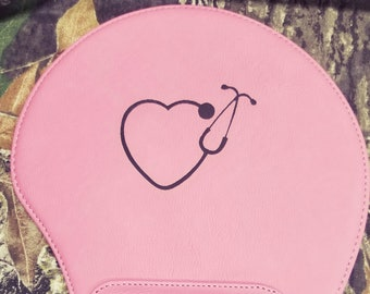 Heart Stethoscope Laser Engraved Mouse Pad