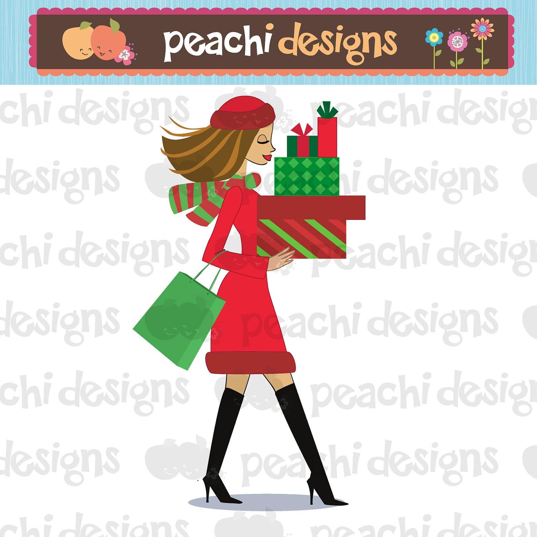 Weihnachts-Shopping Girl Clipart druckbare digitale Datei | Etsy