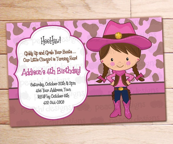 Printable Cowgirl Birthday Invitation Personalized Cowgirl Etsy