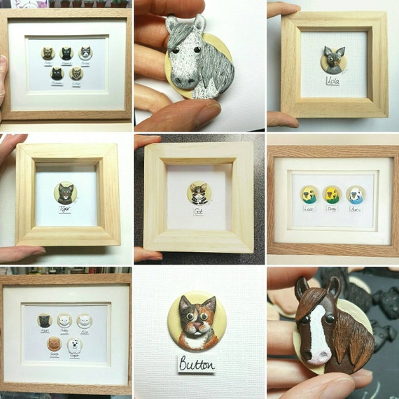 Mini Pet Portraits Two Pets In One Frame All Animals Etsy