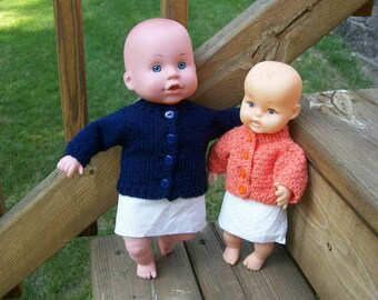 73) Hand Knit Cardigan Sweater 10-12 Inch Baby Dolls Cardigan Long Sleeves Knit Hand Made Doll Clothes Toys Plain Knit or with a Pattern