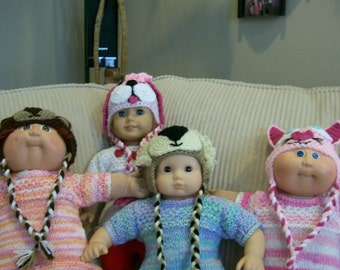 57) Crochet Animal Hats Dolls Children Adult Lion Bear Cat Mouse Dogs Monkey 10 12 15 18 Inch Dolls American Girl Cabbage Patch Bitty Baby