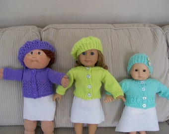 """27) Hand Knit Cardigan Sweater Lace Pattern & Hat Knit Hand Made 15 or 18"""" Dolls American Girl Bitty Baby Cabbage Patch Doll Clothes Toys"""