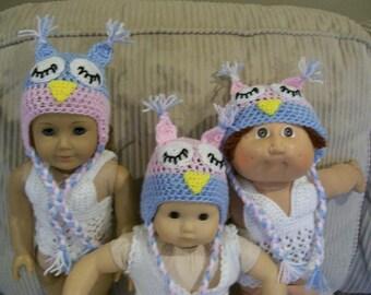 "9) Crochet Sleeping Owl Hats  Animal Hats Crochet Hand Made Dolls Doll Clothes Toys 15-18"" Dolls AG CP 10-12/13"" CP Dolls 10-12' Baby Dolls"