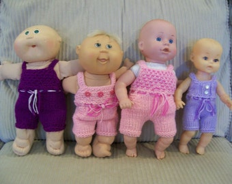 86) Knit Rompers for 10 and 12 Inch Cabbage Patch Baby Dolll or 10 and 12 Inch Baby Dolls Rompers Shorts Pockets Tie Sleeveless Buttons