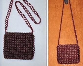 Vintage Brown Plastic Beaded Bag, 1970's 1980's, Small Boho Shoulder Bag