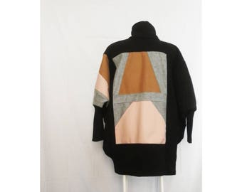 oversized shrug - coat, boro-noragi style, handmade patchwork coat