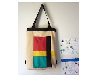 Cotton, canvas, tote and backpack, fiber art