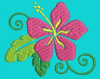 tropical flower machine embroidery designs Instant Download