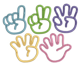 Hands with 1, 2, 3, 4 and 5 fingers embroidery design Instant Download
