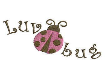 Luv bug lady bug machine embroidery design Instant Download