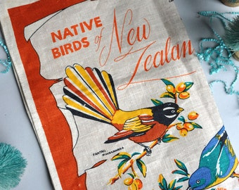 SALE 30% OFF! Native Birds of New Zealand - Linen Tea Towel