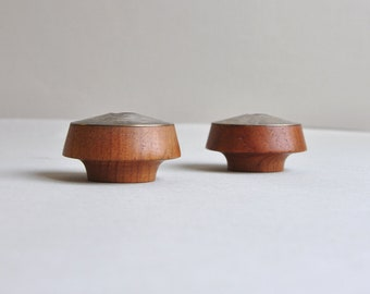 P.J. Ostergaard Teak & Nickel Candle Holders - Made in Denmark