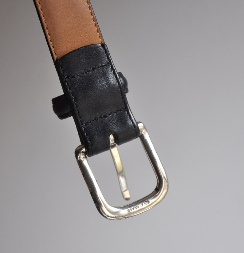 Solid Brass Buckle Leather Belt Land/'s End Made in USA
