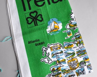 SALE 30% OFF! Ireland Map - Ulster Irish Linen Tea Towel - New with Tags