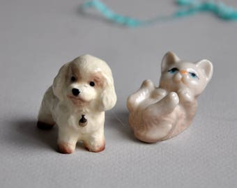 SALE 20% OFF! Vintage Miniature Dog and Cat