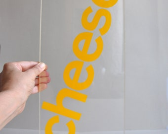 Typographic Lucite Tray - Cheese - Text Lovers