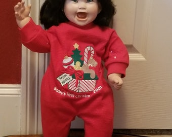 Porcelain Hand Made Chyna Baby Girl Doll with Kitten in Christmas PJs