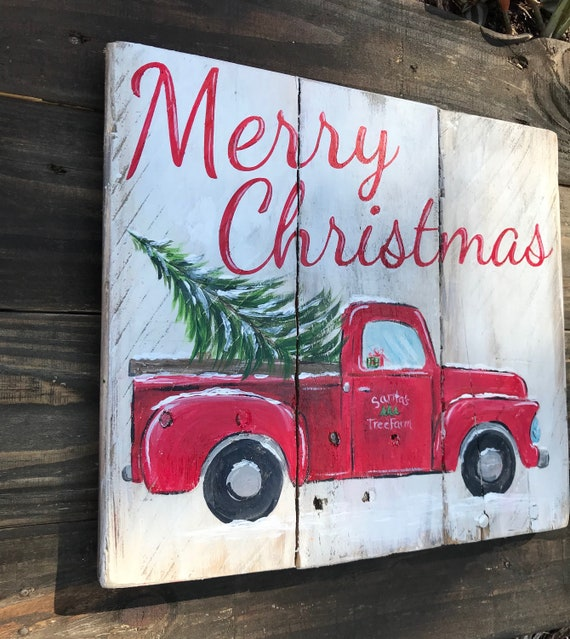 Vintage Red Truck Christmas Decor.Old Red Truck Christmas Tree Truck Sign Merry Christmas Sign Vintage Red Truck Rustic Christmas Decor Christmas Sign Old Red Truck