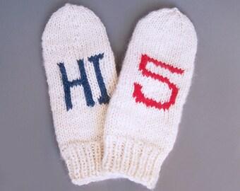 HI 5 mittens Ivory wool mittens for adult woman man teens unisex Friendly trend gift Warm and cozy Medium M L XL