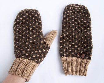Brown wool mittens for adult woman man teens unisex Winter gift Warm and cozy Medium size M L XL
