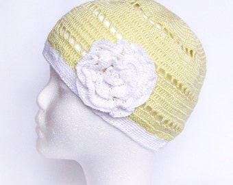 Cotton summer beanie hat for woman and teen, natural material, green and white skull cap with flower
