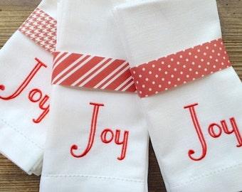 joy christmas embroidered cloth dinner napkins christmas napkins joy napkins christmas joy linens christmas party ideas christmas gift - Christmas Napkins Cloth