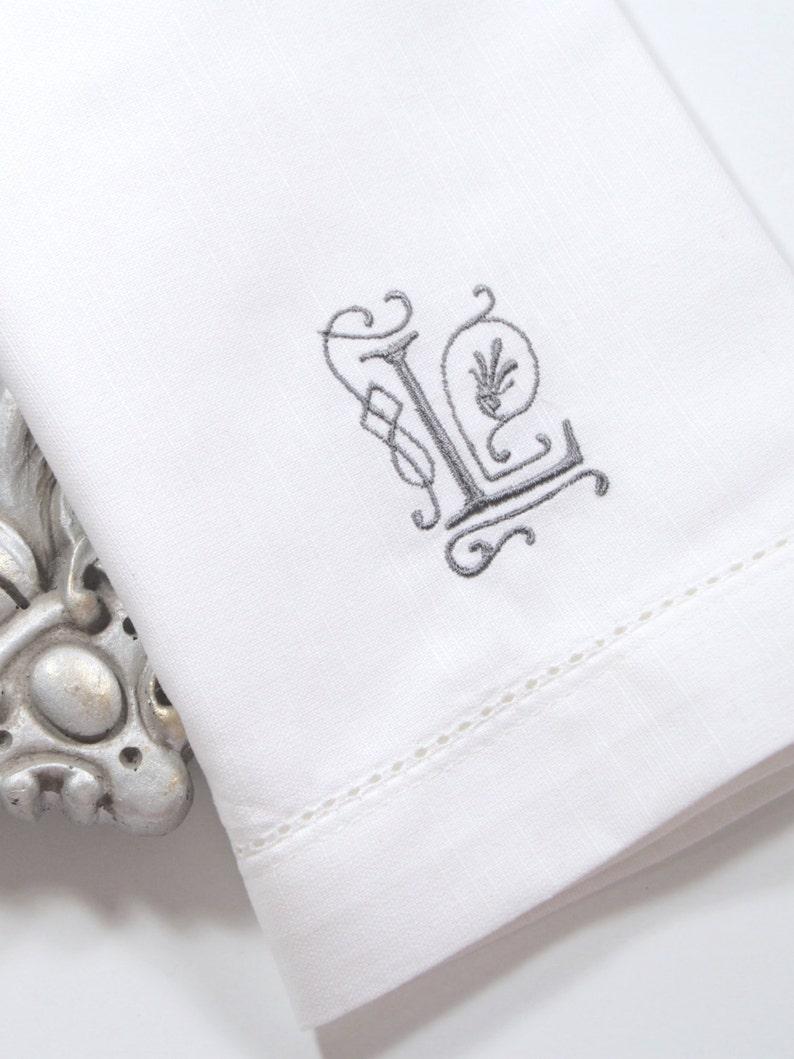 Victoria Monogrammed Napkins custom napkin wedding napkin Embroidered Cloth Dinner Napkins Set of 4 cotton napkins script monogram