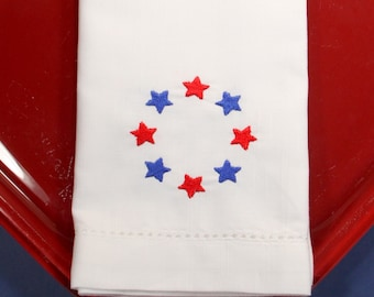 American Star Embroidered Cloth Napkins, Set of 4, American napkins, july 4th napkins, 4th of july cloth napkins, star napkins,usa napkins