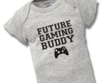 Spr/üche Gaming Fun-Merch Future Gaming Buddy Unisex Body schwarz Familie /& Baby