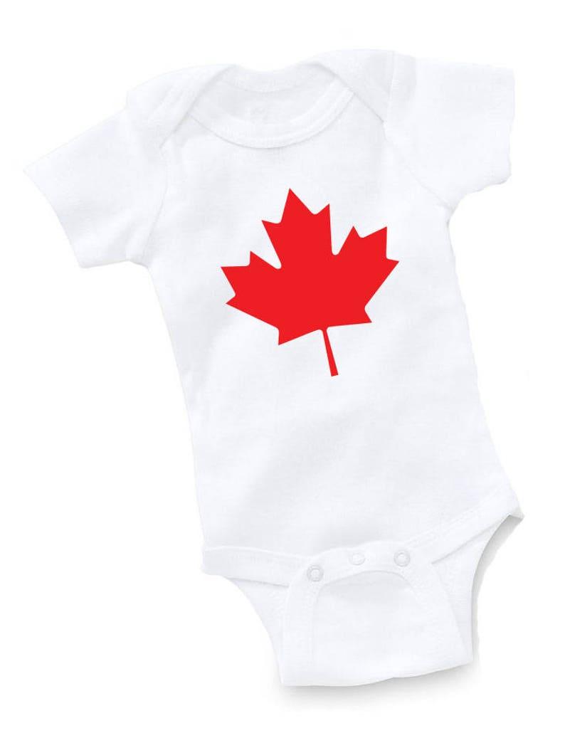 Canada Flag Tee Baby Bodysuit Infant Boy Girl Maple Leaf Snapsuit