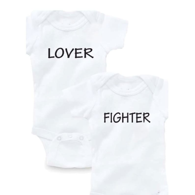 a4f4369bfc74 Lover Fighter Twins Bodysuit Baby Shower Gift Funny Geek Nerd | Etsy