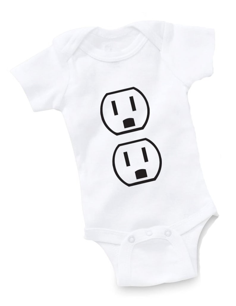 70b37542e445 Funny Baby Bodysuit Plug Outlet Baby Shower Gift Funny Boy