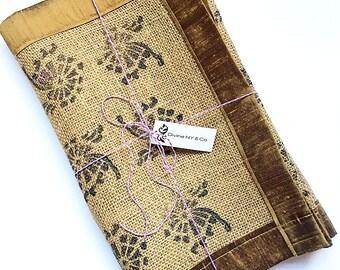 Burlap Table Runner - Block Print Table Runner - Burlap Fabric - Rustic Decor - Housewarming Gift - Hostess Gift