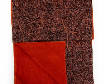 Indian Table Runner in Brown Floral Print - Indian Fabric - Ethnic Table Runner - Brown Table Runner - Hostess Gift - Housewarming Gift