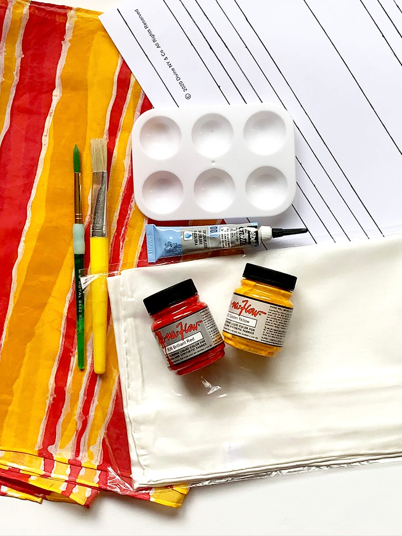 Stripe Pattern Silk Painting Kit  Fabric Painting Kit  image 0