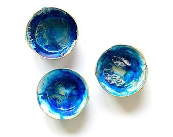 Hand Painted Blue Jewelry Dish - Jewelry Holder - Jewelry Organizer - Ring Dish - Jewelry Storage