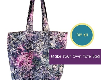 Make Your Own Market Tote Bag, Sewing Kit, Ready to Sew, Pre-cut Fabric, Re-useable Tote Bag, Craft Kit