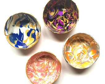 Marbled Ring Dish Set of 4 - Surprise Box - Jewelry Dish - Polymer Clay Dish- Bridesmaid Gift - Hostess Gift - Housewarming Gift