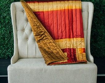 Sari Quilt - Kantha Quilt - Indian Quilt - Sari Bedding - Housewarming Gift - Bridesmaid Gift - Silk Sari Fabric - Red Quilt