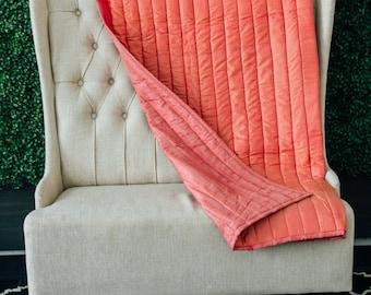 Sari Quilt - Kantha Quilt - Indian Quilt - Sari Fabric - Wedding Gift - Bridesmaid Gift - Housewarming Gift - Pink Quilt