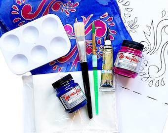 Henna Motif Silk Painting Kit, Fabric Painting, Design Your Own Silk Scarf, Craft Kit, DIY Gift