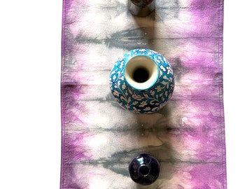 Hand Dyed Table Runner in Purple and Gray, Tie Dye Table Runner, Dip Dyed Table Runner, Hand Dyed Fabric, Cotton Table Runner