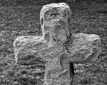 Stone Cross in Black and White - Jamestown, Virginia