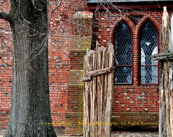 Jamestown Church Windows in Sepia - Virginia